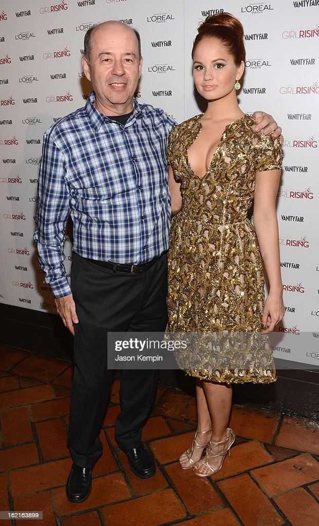 Producer Tom Yellin and actress Debby Ryan attend Vanity Fair and L'Oréal Paris-hosted D.J. Night with Freida Pinto in support of 10 x 10 and 'Girl Rising' at Teddy's at The Hollywood Roosevelt Hotel on February 19, 2013 in Los Angeles, California.