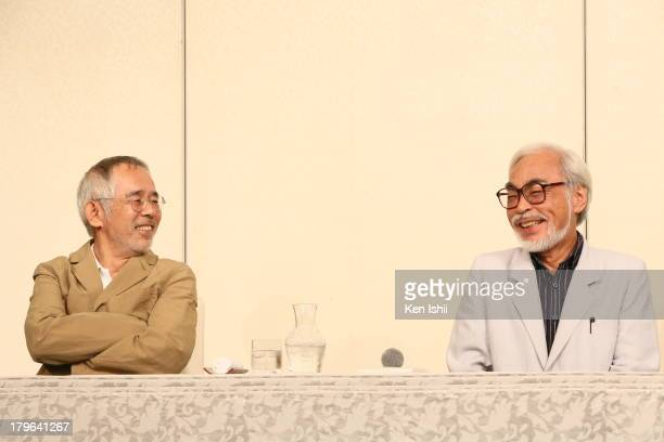 Producer Toshio Suzuki speaks with Director Hayao Miyazaki during a press conference regarding Miyazaki's retirement from active work at Kichijoji on...