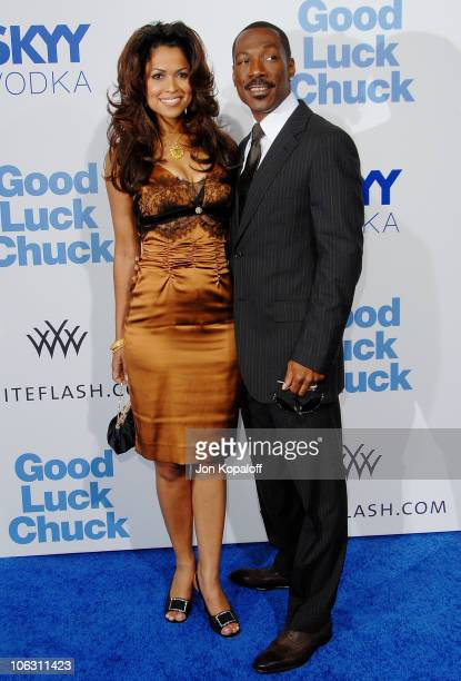 Producer Tracey Edmonds and actor Eddie Murphy arrive at the Los Angeles Premiere 'Good Luck Chuck' at the Mann National Theater on September 19 2007...