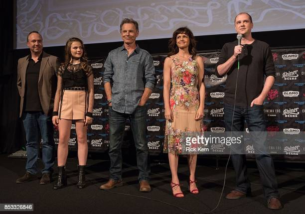 Producer Trevor Macy actors Chiara Aurelia Bruce Greenwood Carla Gugino and director Mike Flanagan at the Netflix Films Gerald's Game Premiere at...