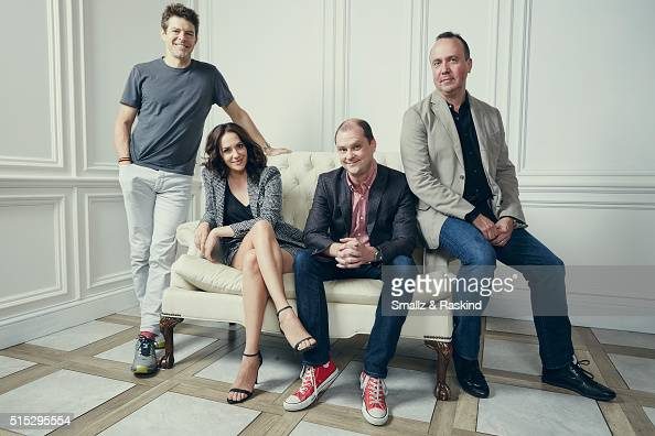 Producer Trevor Macy actress/writer Kate Siegel writer/director Mike Flanagan and producer Jason Blum of 'Hush' are photographed in the Getty Images...