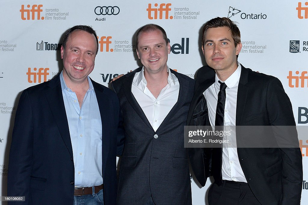 Producer Trevor Macy, director <a gi-track='captionPersonalityLinkClicked' href=/galleries/search?phrase=Mike+Flanagan&family=editorial&specificpeople=224999 ng-click='$event.stopPropagation()'>Mike Flanagan</a> and composer Taylor Stewart attend the 'Oculus' premiere during the 2013 Toronto International Film Festival at Ryerson Theatre on September 8, 2013 in Toronto, Canada.