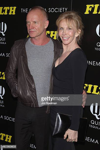 Producer Trudie Styler and Musician Sting attend Magnolia Pictures with The Cinema Society screening of 'Filth'at Landmark's Sunshine Cinema on May...