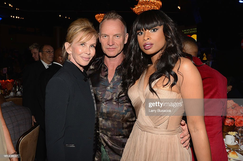 Producer Trudy Styler, singer Sting and singer/actress <a gi-track='captionPersonalityLinkClicked' href=/galleries/search?phrase=Jennifer+Hudson&family=editorial&specificpeople=234833 ng-click='$event.stopPropagation()'>Jennifer Hudson</a> attend the 55th Annual GRAMMY Awards Pre-GRAMMY Gala and Salute to Industry Icons honoring L.A. Reid held at The Beverly Hilton on February 9, 2013 in Los Angeles, California.