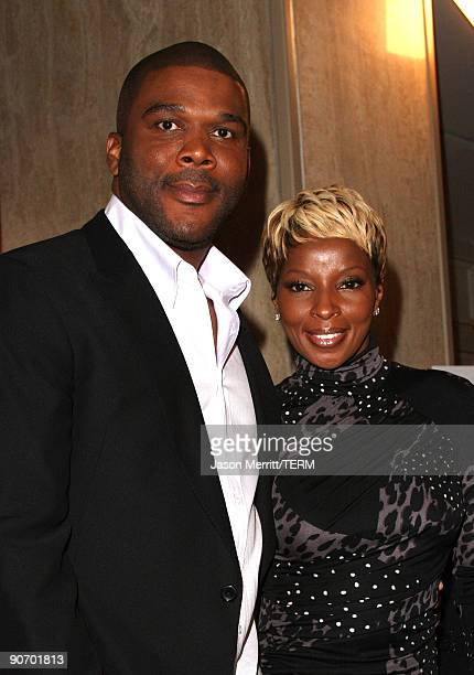 Producer Tyler Perry and singer Mary J Blige speak onstage at the 'Precious Based On The Novel 'Push' By Sapphire' press conference held at the Four...