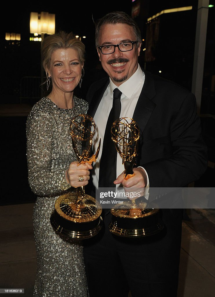 Producer Vince Gilligan and guest attend the Governors Ball during the 65th Annual Primetime Emmy Awards held at Nokia Theatre LA Live on September...