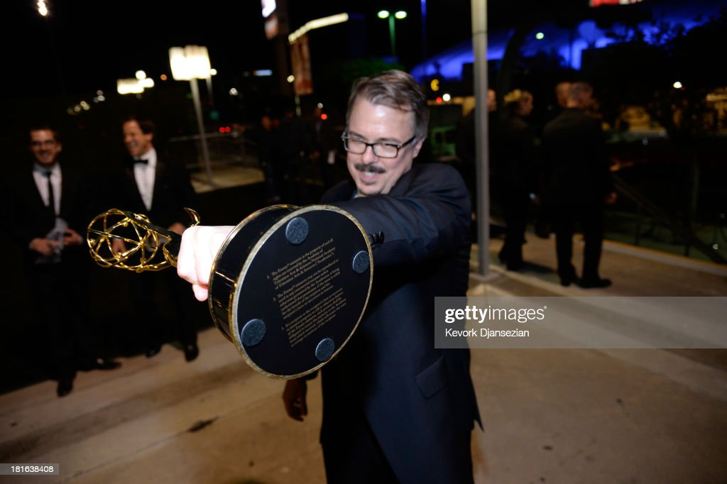 Producer <a gi-track='captionPersonalityLinkClicked' href=/galleries/search?phrase=Vince+Gilligan&family=editorial&specificpeople=4360133 ng-click='$event.stopPropagation()'>Vince Gilligan</a> attends the Governors Ball during the 65th Annual Primetime Emmy Awards at Nokia Theatre L.A. Live on September 22, 2013 in Los Angeles, California.