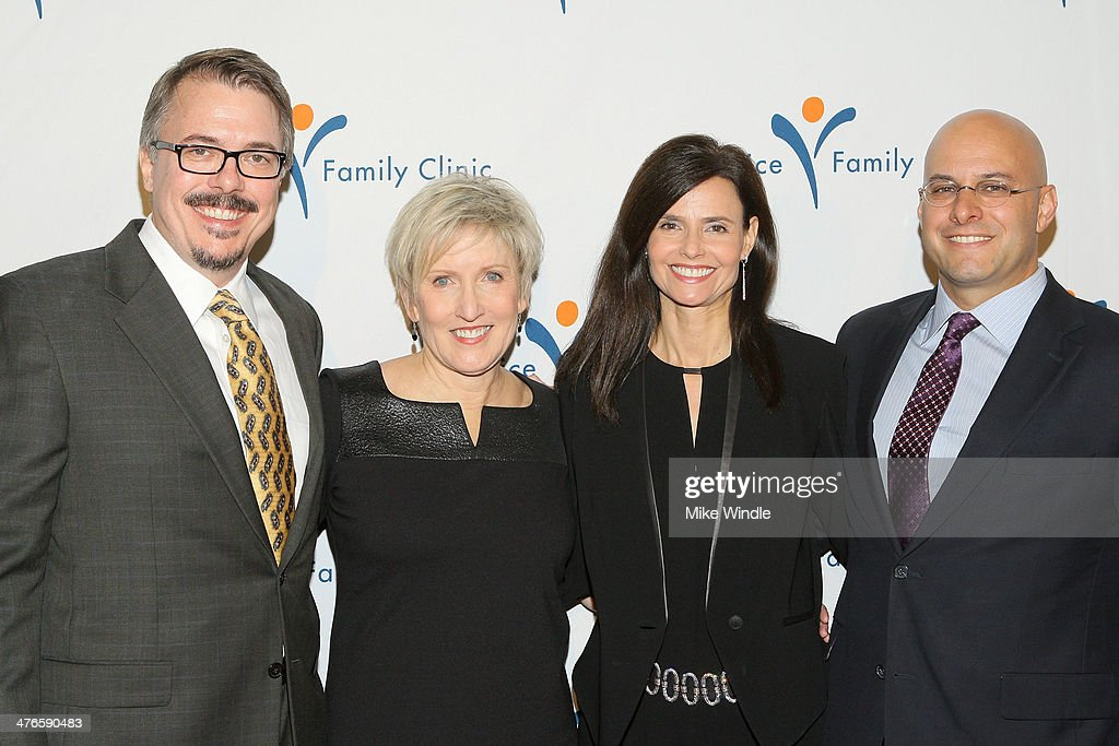 Producer Vince Gilligan, Holly Rice, Humanitarian Award winner Chris Silbermann and wife Julia Franz attend the Venice Family Clinic's 32nd Annual Silver Circle Gala held at The Beverly Hilton Hotel on March 3, 2014 in Beverly Hills, California.