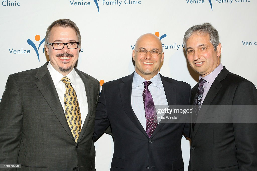 Producer <a gi-track='captionPersonalityLinkClicked' href=/galleries/search?phrase=Vince+Gilligan&family=editorial&specificpeople=4360133 ng-click='$event.stopPropagation()'>Vince Gilligan</a>, Humanitarian Award winner Chris Silbermann and Producer <a gi-track='captionPersonalityLinkClicked' href=/galleries/search?phrase=David+Shore&family=editorial&specificpeople=638145 ng-click='$event.stopPropagation()'>David Shore</a> attend the Venice Family Clinic's 32nd Annual Silver Circle Gala held at The Beverly Hilton Hotel on March 3, 2014 in Beverly Hills, California.