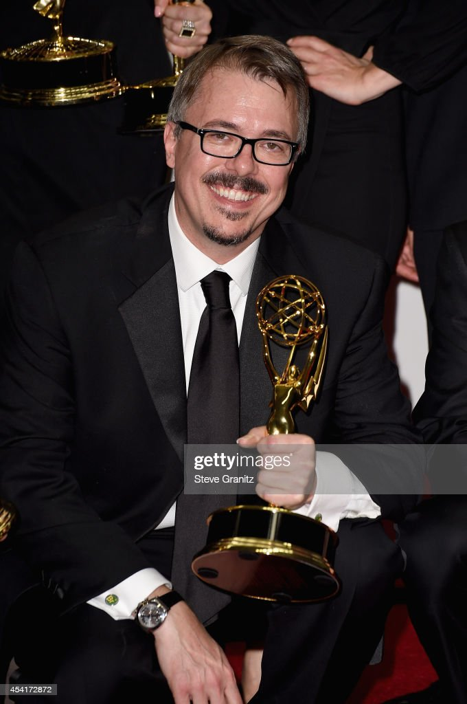 Producer Vince Gilligan poses in the press room during the 66th Annual Primetime Emmy Awards held at Nokia Theatre LA Live on August 25 2014 in Los...