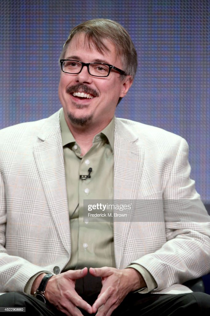 Producer Vince Gilligan speaks onstage at the 'Battle Creek' panel during the CBS Network portion of the 2014 Summer Television Critics Association...