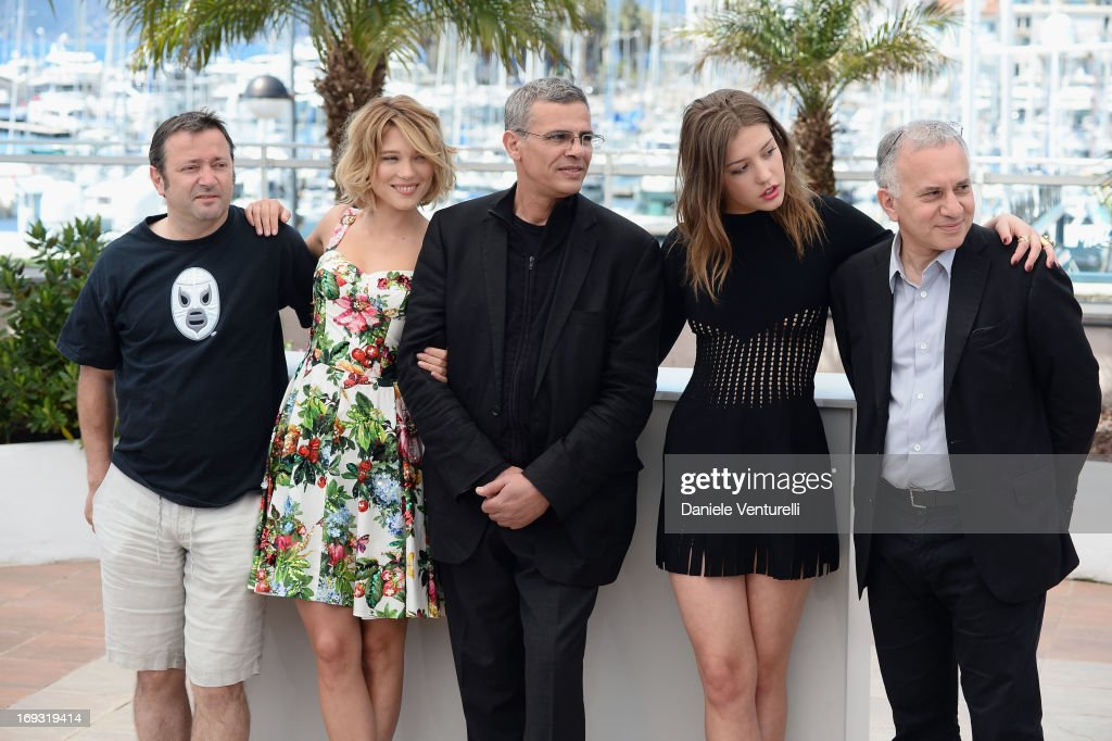 Producer Vincent Maraval, Actress Lea Seydoux, director Abdellatif Kechiche, actress Adele Exarchopoulos and producer Brahim Chiqua attend the photocall for 'La Vie D'Adele' during the 66th Annual Cannes Film Festival at The Palais des Festivals on May 23, 2013 in Cannes, France.