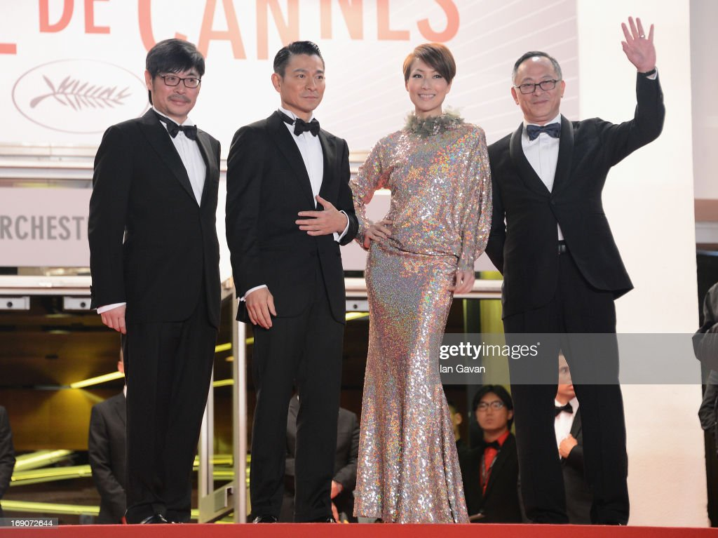 Producer Wai Ka-Fai, actors <a gi-track='captionPersonalityLinkClicked' href=/galleries/search?phrase=Andy+Lau&family=editorial&specificpeople=171171 ng-click='$event.stopPropagation()'>Andy Lau</a>, <a gi-track='captionPersonalityLinkClicked' href=/galleries/search?phrase=Sammi+Cheng&family=editorial&specificpeople=2233867 ng-click='$event.stopPropagation()'>Sammi Cheng</a> and director <a gi-track='captionPersonalityLinkClicked' href=/galleries/search?phrase=Johnnie+To&family=editorial&specificpeople=2959728 ng-click='$event.stopPropagation()'>Johnnie To</a> attend the 'Blind Detective' Premiere during the 66th Annual Cannes Film Festival at the Palais des Festivals on May 19, 2013 in Cannes, France.