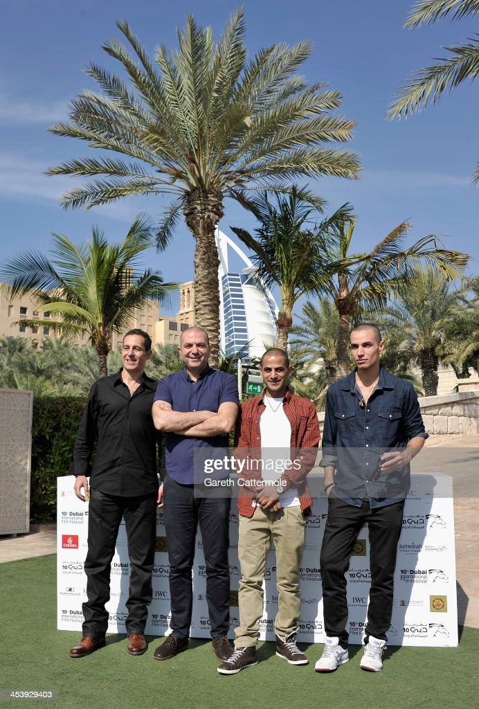 Producer Waleed Zuaiter, director Hany Abu Assaad and actors Eyad Hourani and Adam Bakri during the 'Omar' photocall on day one of the 10th Annual Dubai International Film Festival held at the Madinat Jumeriah Complex on December 6, 2013 in Dubai, United Arab Emirates.