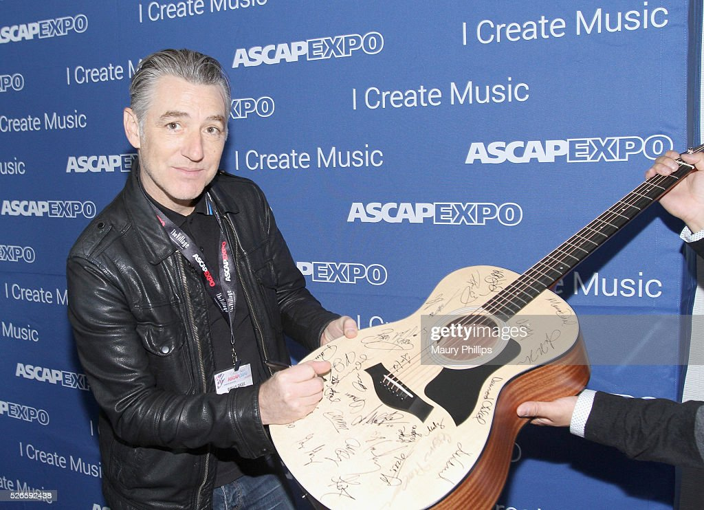 Producer Wally Gagel signs a #StandWithSongwriters guitar, which will be presented in May to members of Congress to urge them to support reform of outdated music licensing laws, during attends the 2016 ASCAP 'I Create Music' EXPO on April 30, 2016 in Los Angeles, California.