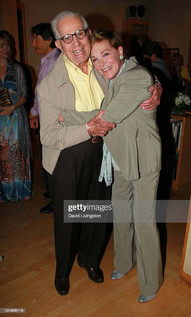 Producer Walter Mirisch (L) and actress Julie Andrews attend Blake Edwards' art exhibit preview at Leslie Sacks Fine Art on June 5, 2010 in Brentwood, California.