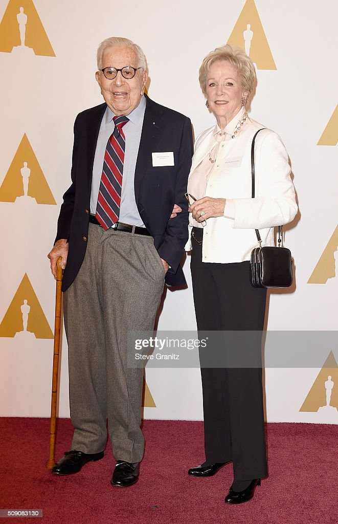 Producer <a gi-track='captionPersonalityLinkClicked' href=/galleries/search?phrase=Walter+Mirisch&family=editorial&specificpeople=1302100 ng-click='$event.stopPropagation()'>Walter Mirisch</a> (L) and guest attend the 88th Annual Academy Awards nominee luncheon on February 8, 2016 in Beverly Hills, California.