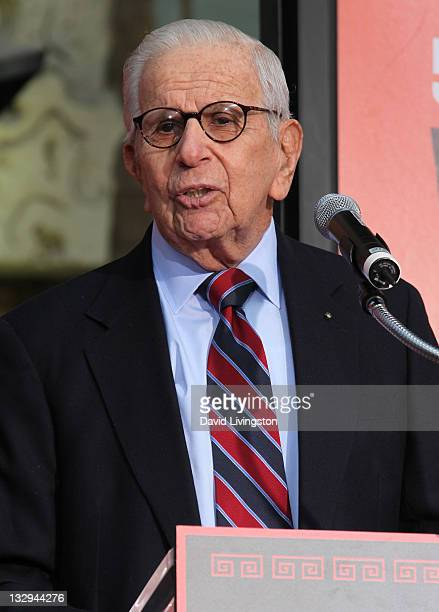 Producer Walter Mirisch attends the Rita Moreno George Chakiris and Russ Tamblyn hand and footprint ceremony celebrating the 50th anniversary of...