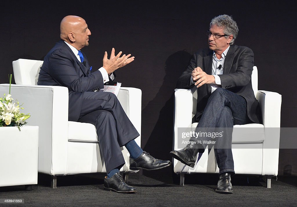Producer Walter Parkes (R) speaks on stage with Tariq Qureishy at the Cinematic Innovation Summit ahead of the 10th Annual Dubai International Film Festival at Atlantis, The Palm Hotel on December 6, 2013 in Dubai, United Arab Emirates.