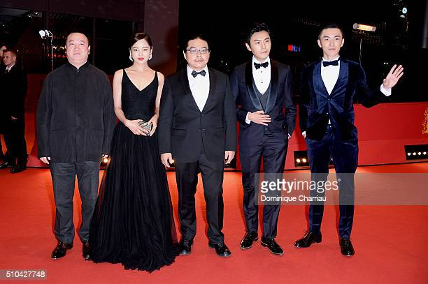 Producer Wang Yu actress Xin Zhi Lei director Yang Chao actors Qin Hao and Wu Lipeng attend the 'Crosscurrent' premiere during the 66th Berlinale...