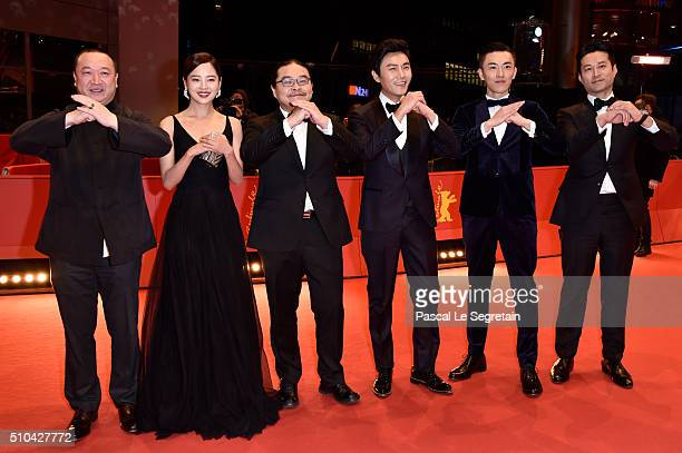 Producer Wang Yu actress Xin Zhi Lei director Yang Chao actors Qin Hao Wu Lipeng and Tan Kai attend the 'Crosscurrent' premiere during the 66th...