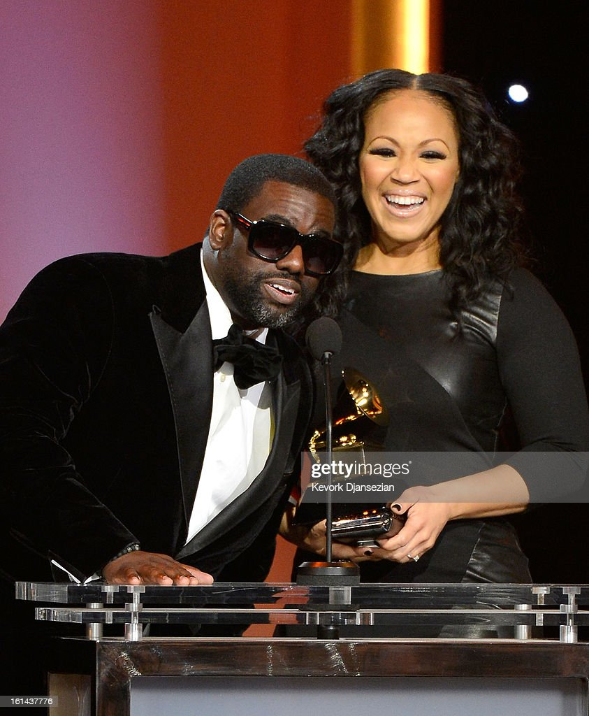 Producer Warryn Campbell and singer Erica Campbell of Mary Mary accept Best Gospel Song award for 'Go Get It' onstage at the The 55th Annual GRAMMY...