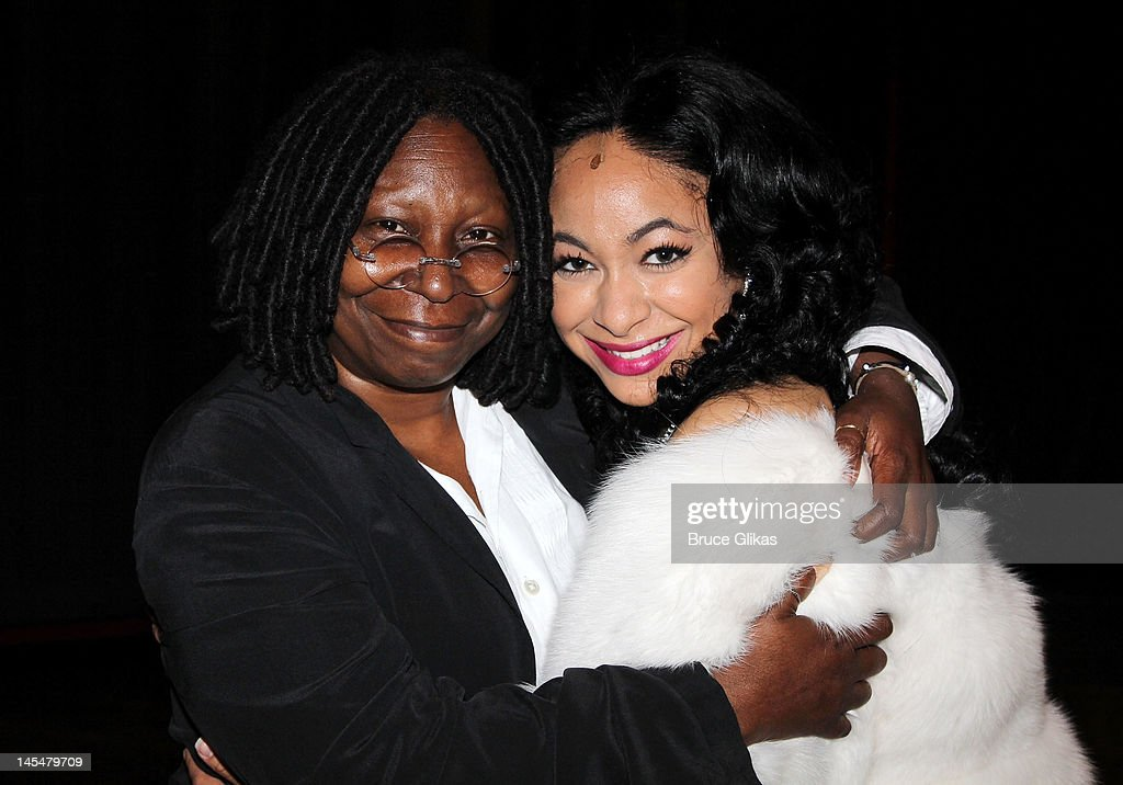 Producer <a gi-track='captionPersonalityLinkClicked' href=/galleries/search?phrase=Whoopi+Goldberg&family=editorial&specificpeople=202463 ng-click='$event.stopPropagation()'>Whoopi Goldberg</a> and Raven Symone (Whoopi played the role of 'Deloris Van Cartier' in the film) pose backstage at the hit musical 'Sister Act' on Broadway at The Broadway Theater on May 30, 2012 in New York City.