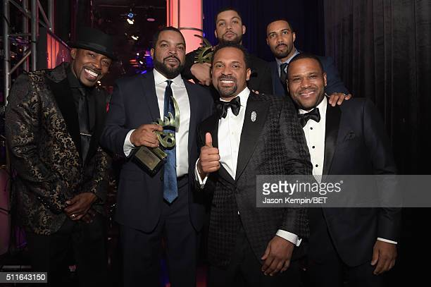 Producer Will Packer actorrapper Ice Cube host Mike Epps actors O'Shea Jackson Jr Omari Hardwick and Anthony Anderson pose backstage at the 2016 ABFF...