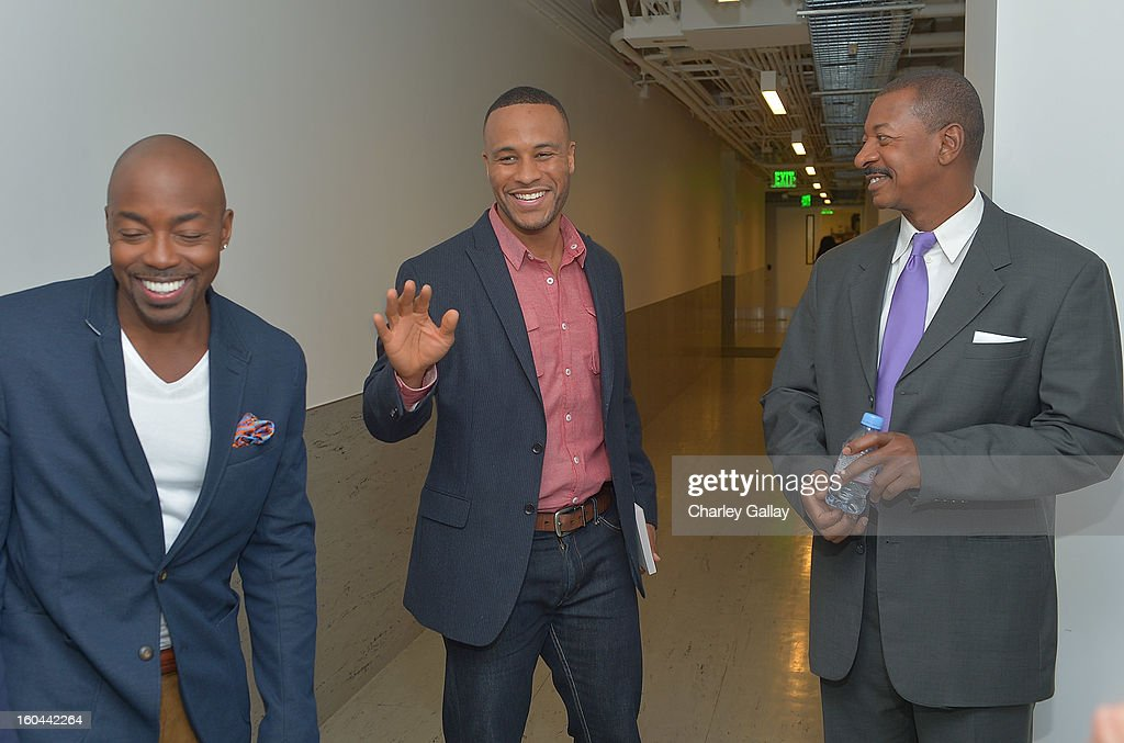 Producer Will Packer, Senior Vice President of Production for Columbia Pictures DeVon Franklin and director <a gi-track='captionPersonalityLinkClicked' href=/galleries/search?phrase=Robert+Townsend+-+Actor&family=editorial&specificpeople=224619 ng-click='$event.stopPropagation()'>Robert Townsend</a> attend the taping of TV One's 'Washington Watch With Roland Martin' Hollywood Special at KCET Studios on January 31, 2013 in Hollywood, California.