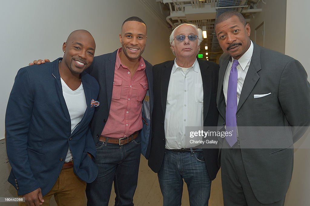 Producer Will Packer, Senior Vice President of Production for Columbia Pictures DeVon Franklin, Executive Producer for 'Belle's' Ed. Weinberger and director <a gi-track='captionPersonalityLinkClicked' href=/galleries/search?phrase=Robert+Townsend+-+Actor&family=editorial&specificpeople=224619 ng-click='$event.stopPropagation()'>Robert Townsend</a> attend the taping of TV One's 'Washington Watch With Roland Martin' Hollywood Special at KCET Studios on January 31, 2013 in Hollywood, California.