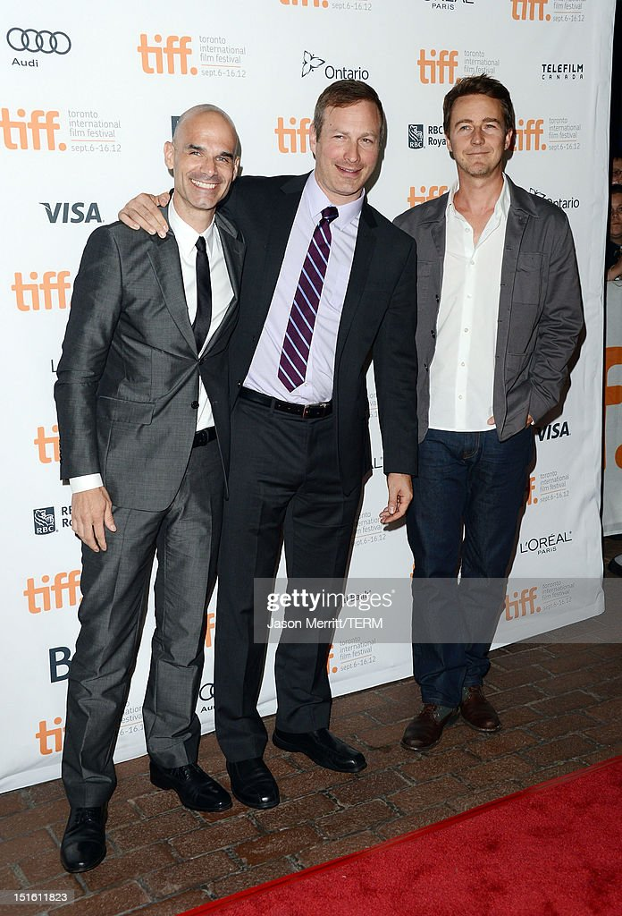 Producer William Migliore, Director Stuart Blumberg and Actor/Executive Producer <a gi-track='captionPersonalityLinkClicked' href=/galleries/search?phrase=Edward+Norton&family=editorial&specificpeople=210580 ng-click='$event.stopPropagation()'>Edward Norton</a> attend the 'Thanks For Sharing' premiere during the 2012 Toronto International Film Festival at Ryerson Theatre on September 8, 2012 in Toronto, Canada.