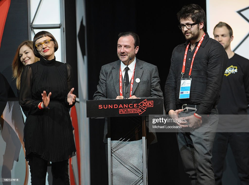 Producer Xenia Grubstein, directors Mike Lerner and Maxim Pozdorovkin accept the World Cinema Documentary Special Jury Award for Pussy Riot – A Punk Prayer at the Awards Night Ceremony during the 2013 Sundance Film Festival at Basin Recreation Field House on January 26, 2013 in Park City, Utah.