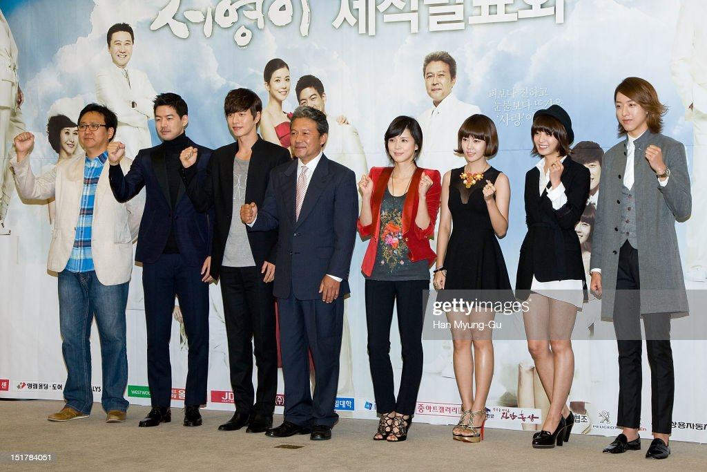 Producer Yoo Hyun-Ki, actors Lee Sang-Yun, Park Hae-Jin, Chun Ho-Jin (Cheon Ho-Jin), Lee Bo-Young, Choi Yun-Young, Park Jung-Ah and Lee Jung-Shin of South Korean boy band CNBLUE attend during a press conference to promote the KBS drama 'My Daughter, Seoyoung' on September 11, 2012 in Seoul, South Korea. The drama will open on September 15 in South Korea.