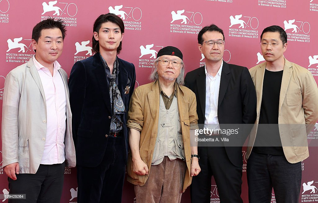 Producer Yoshi Ikezawa, actor <a gi-track='captionPersonalityLinkClicked' href=/galleries/search?phrase=Haruma+Miura&family=editorial&specificpeople=7470001 ng-click='$event.stopPropagation()'>Haruma Miura</a>, Japanese mangaka/author <a gi-track='captionPersonalityLinkClicked' href=/galleries/search?phrase=Leiji+Matsumoto&family=editorial&specificpeople=7857927 ng-click='$event.stopPropagation()'>Leiji Matsumoto</a>, director <a gi-track='captionPersonalityLinkClicked' href=/galleries/search?phrase=Shinji+Aramaki&family=editorial&specificpeople=2518280 ng-click='$event.stopPropagation()'>Shinji Aramaki</a> and producer Joseph Chou attend 'Harlock Space Pirate' Photocall at the 70th Venice International Film Festival at Palazzo del Casino on September 3, 2013 in Venice, Italy.