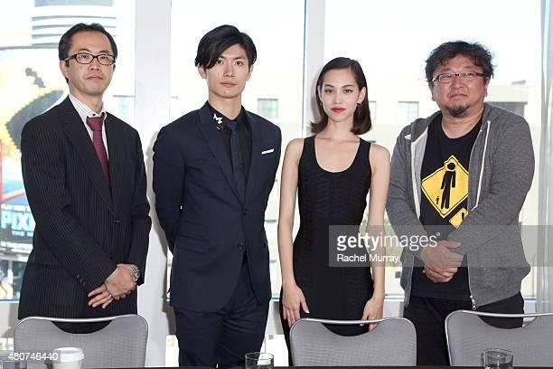 Producer Yoshihiro Sato actors Haruma Miura and Kiko Mizuhara and director Shinji Higuchi attend the 'ATTACK ON TITAN' World Premiere press...