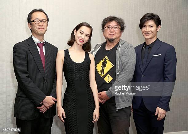 Producer Yoshihiro Sato actress Kiko Mizuhara director Shinji Higuchi and actor Haruma Miura attend the 'ATTACK ON TITAN' World Premiere press...