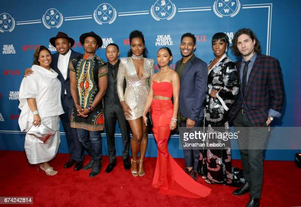 Producer Yvette Lee Bowser writer/producer Justin Simien and actors Marque Richardson DeRon Horton Antoinette Robertson Logan Browning Brandon P Bell...