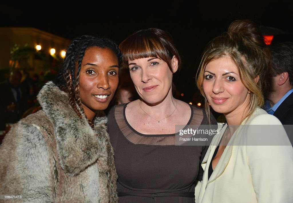 Producer Zoe Stewart, British Film Commission Senior Executive, Industry Relations Tara Halloran and Helena Barton attend a reception honoring Keira Knightly at British Consulate LA with Focus Features and British Film Commission on November 15, 2012 in Los Angeles, California.