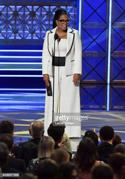 Produceractor Oprah Winfrey speaks onstage during the 69th Annual Primetime Emmy Awards at Microsoft Theater on September 17 2017 in Los Angeles...