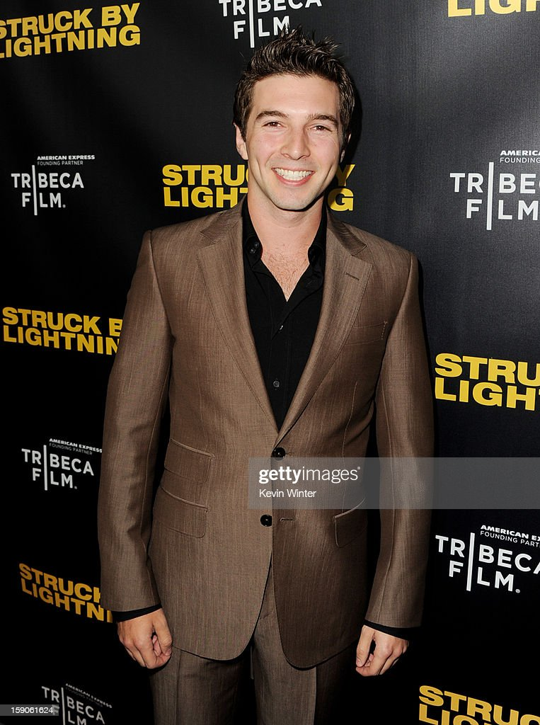 Producer/actor Roberto Aguire arrives at a screening of Tribeca Film's 'Struck By Lightning' at the Chinese Cinema 6 Theaters on January 6, 2013 in Los Angeles, California.