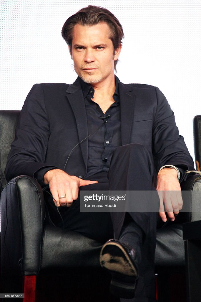 Producer/Actor <a gi-track='captionPersonalityLinkClicked' href=/galleries/search?phrase=Timothy+Olyphant&family=editorial&specificpeople=589275 ng-click='$event.stopPropagation()'>Timothy Olyphant</a> of the show 'Justified' attends the TCA 2013 Winter Press Tour - FX panels held at The Langham Huntington Hotel and Spa on January 9, 2013 in Pasadena, California.