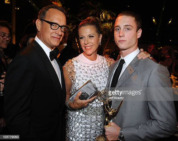 Producer/actor Tom Hanks actress Rita Wilson and actor Chet Hanks attend HBO's Annual Emmy Awards after party at the Pacific Design Center on August...