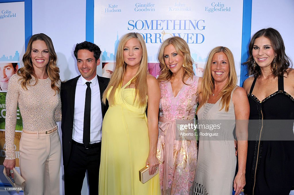 producer/actress Hilary Swank, producer Aaron Lubin, actress <a gi-track='captionPersonalityLinkClicked' href=/galleries/search?phrase=Kate+Hudson&family=editorial&specificpeople=156407 ng-click='$event.stopPropagation()'>Kate Hudson</a>, writer Emily Giffin, producers Molly Mickler Smith, and Ellen H. Schwartz arrive at the premiere of Warner Bros. 'Something Borrowed' held at Grauman's Chinese Theatre on May 3, 2011 in Hollywood, California.