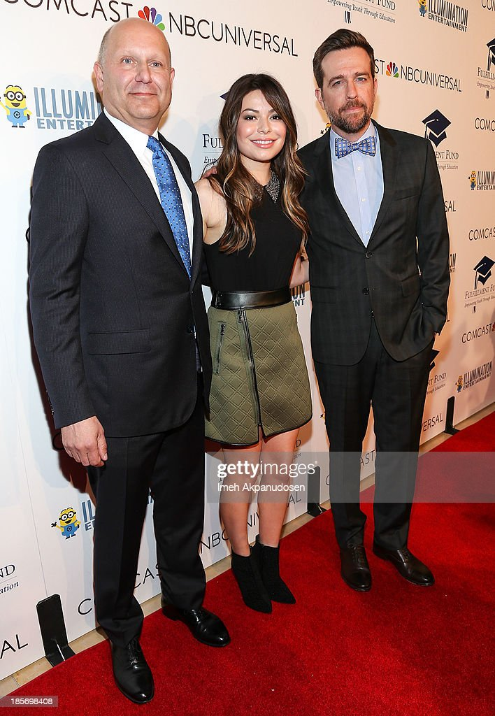 Producer/CEO of Illumination Entertainment Chris Meledandri, actress Miranda Cosgrove, and actor Ed Helms attend the STARS 2013 Benefit Gala By The Fulfillment Fund at The Beverly Hilton Hotel on October 23, 2013 in Beverly Hills, California.