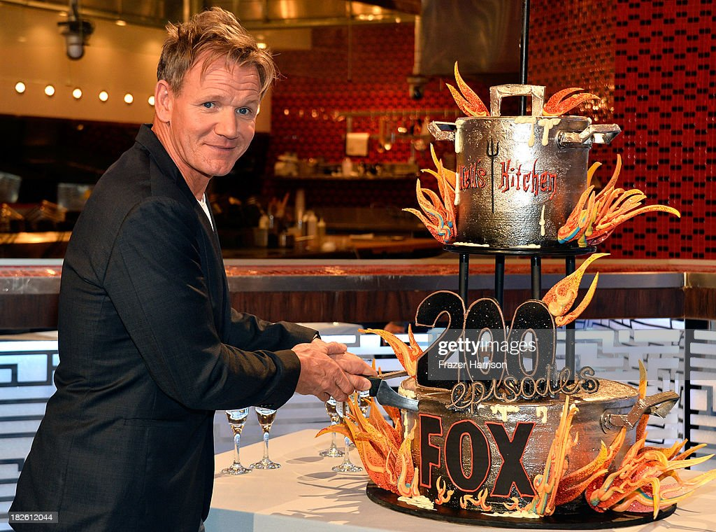 Producer/Chef <a gi-track='captionPersonalityLinkClicked' href=/galleries/search?phrase=Gordon+Ramsay&family=editorial&specificpeople=210520 ng-click='$event.stopPropagation()'>Gordon Ramsay</a> attends Fox's 'Hell's Kitchen' 200th Episode Celebration at the Hell's Kitchen studio on October 1, 2013 in Culver City, California.