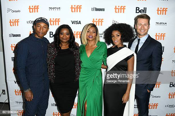 Producer/composer Pharrell Williams actress Octavia Spencer actress Taraji P Henson actress Janelle Monáe and actor Glen Powell attend the 'Hidden...