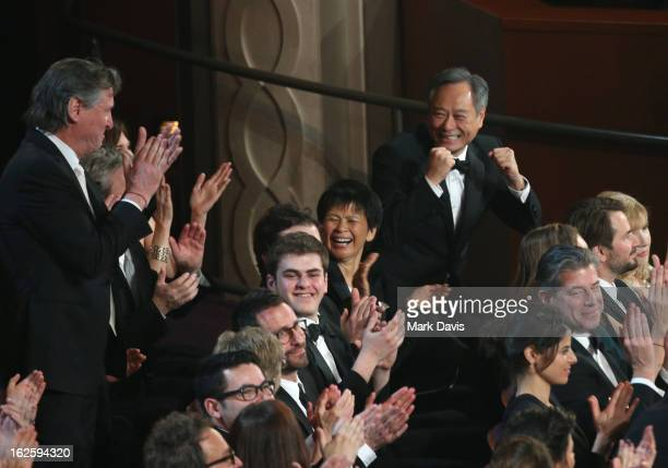 Producer/director Ang Lee and Jane Lin attend the Oscars held at the Dolby Theatre on February 24 2013 in Hollywood California