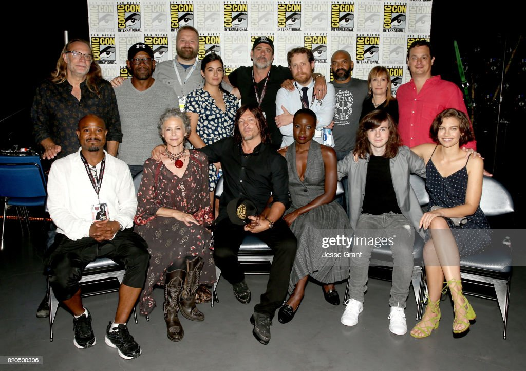 Producer/director Greg Nicotero, actor Lennie James, writer/producer Robert Kirkman, actor Jeffrey Dean Morgan, writer/producer Scott M. Gimple, actor Khary Payton, producers Gale Anne Hurd and David Alpert (Front row L-R) actors Seth Gilliam, Melissa McBride, Norman Reedus, Danai Gurira, Chandler Riggs, and Lauren Cohan from 'The Walking Dead' at the Hall H panel with AMC at San Diego Comic-Con International 2017 at the San Diego Convention Center on July 21, 2017 in San Diego, California.