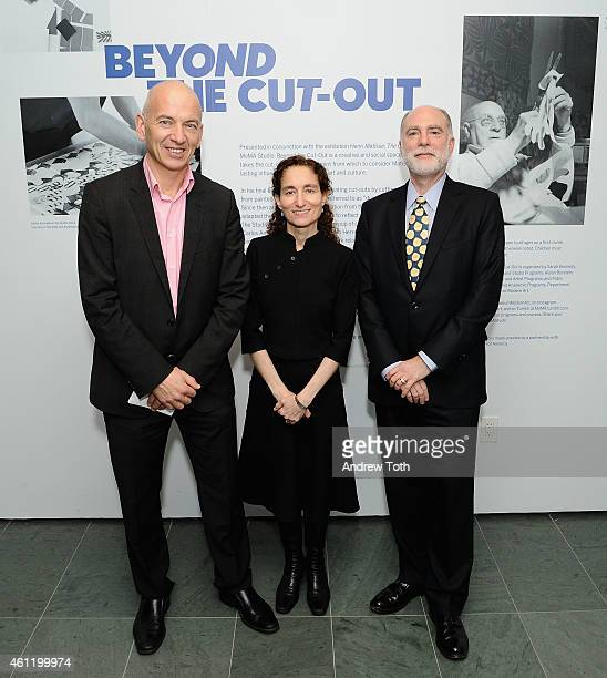 Producer/director Phil Grabsky curator Jodi Hauptman and curator Karl Buchberg attend 'Exhibition On Screen Matisse from MoMA and Tate Modern'...