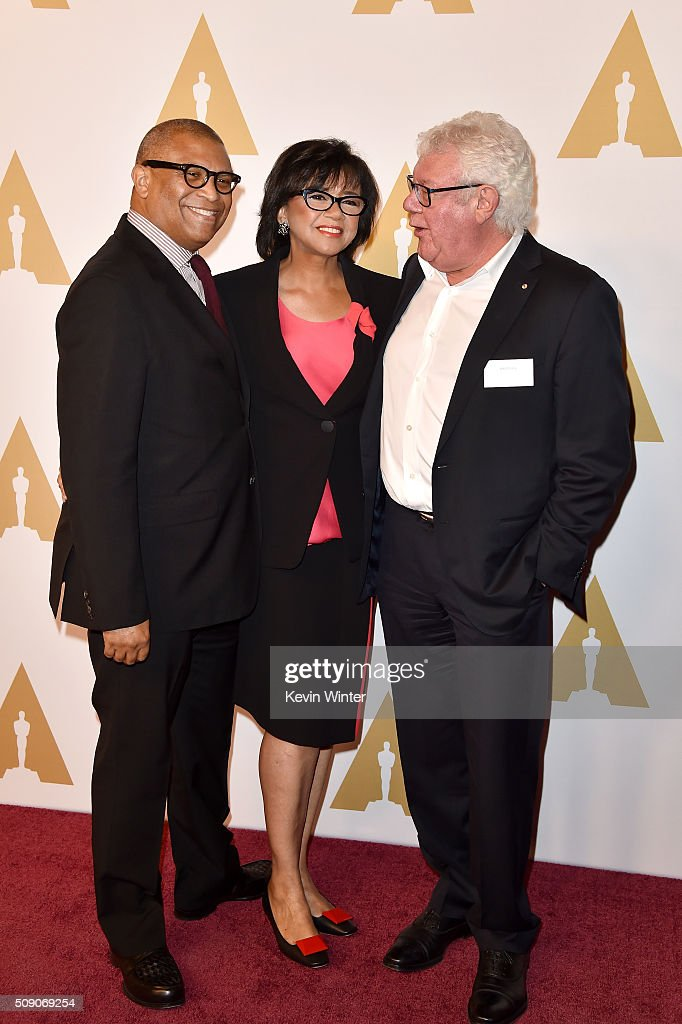 Producer/director <a gi-track='captionPersonalityLinkClicked' href=/galleries/search?phrase=Reginald+Hudlin&family=editorial&specificpeople=671015 ng-click='$event.stopPropagation()'>Reginald Hudlin</a>, President of the Academy of Motion Picture Arts and Sciences <a gi-track='captionPersonalityLinkClicked' href=/galleries/search?phrase=Cheryl+Boone+Isaacs&family=editorial&specificpeople=725500 ng-click='$event.stopPropagation()'>Cheryl Boone Isaacs</a> and producer David Hill attend the 88th Annual Academy Awards nominee luncheon on February 8, 2016 in Beverly Hills, California.
